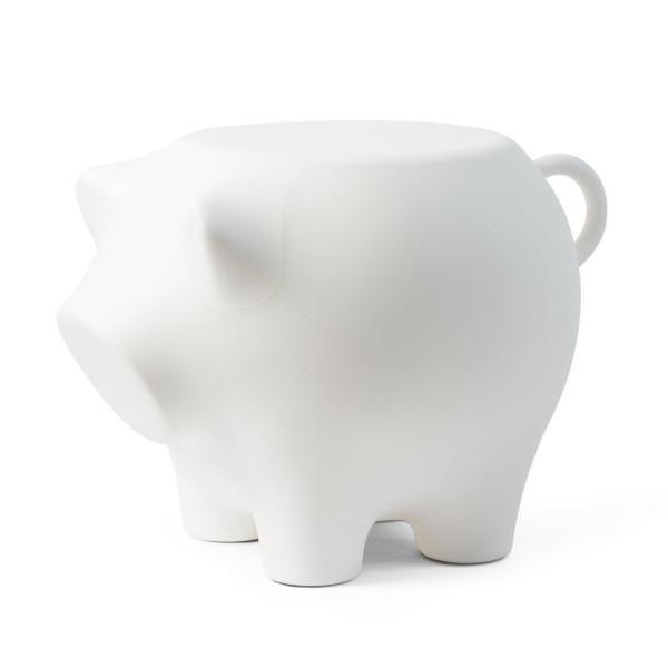 Beistellschwein SidePig - Hocker, Beistelltisch, Designobjekt und mehr! Das große XXL Schwein in weiß von Werkwaardig aus Kunststoff.