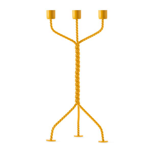 3-armiger Kerzenleuchter TWISTED gelb | werkwaardig design - Kerzenständer aus gedrehtem Metalldraht.