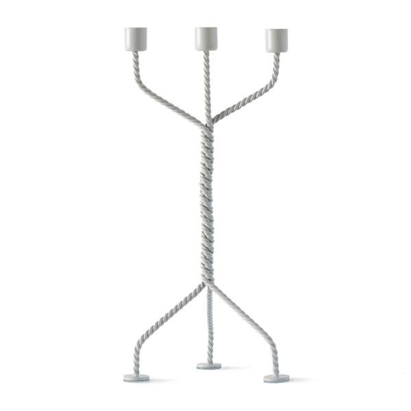3-armiger Kerzenleuchter TWISTED hellgrau | werkwaardig design - Kerzenständer aus gedrehtem Metalldraht.