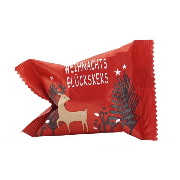 Weihnachtlicher Glückskeks in roter Verpackung mit Rentiermotiv. XMAS Glückskekse Weihnachten von Wunderle.