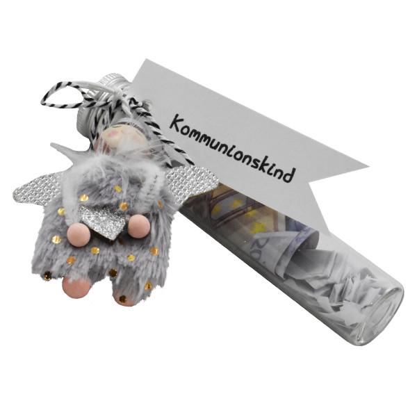 Kommunion Geschenk: Glasröhre für Gutscheine oder Geld mit Schutzengel von Wunderle. Verpackung für Geldgeschenk Kommunion.