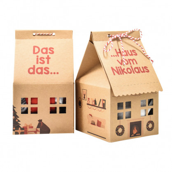 Papphaus - Das ist das Haus vom Nikolaus - von Wunderle aus bedruckter Naturpappe. Originelles Geschenk für alle Nikolausbegeisterte.
