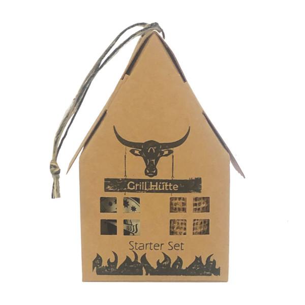Papphaus - Grill Hütte Starter Set von Wunderle - Braunes Papphaus, 100% recycelbar, befüllt mit nützlichen Dingen für Grillfans