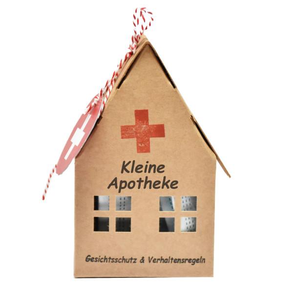 Papphaus Kleine Apotheke mit Mundschutz / Gesichtsmaske. Erste Hilfe Haus aus Naturpappe von Wunderle.