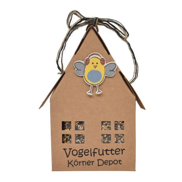 Papphaus - Vogelfutter Körner Depot von Wunderle - Braunes Papphaus, 100% recycelbar, befüllt mit hochwertigem Vogelfutter
