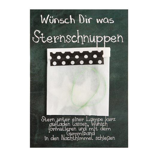 Sternschnuppen Karte: Postkarte mit 2 fluoreszierenden Sternen von Wunderle. Kleine Grußkarte für Weihnachten.