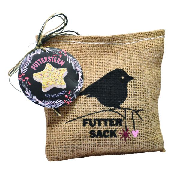 Vogelfuttersack von Wunderle: Jutesack mit tollem Vogel-Motiv und befüllt mit einem Vogel-Futterstern zum Selbermachen!