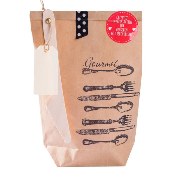 Wundertüte für Gourmets von Wunderle. Braune Geschenktüte. Gourmet Wundertüte. Überraschungstüte.
