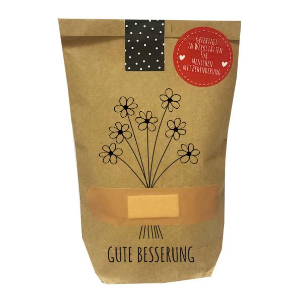 Gute Besserung Geschenktüte von Wunderele - braune mini Papiertüte, befüllt mit gesundheitsfördernden Kleinigkeiten