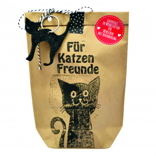Geschenktüte für Katzenfreunde. Braune Wundertüte Für Katzen Freunde von Wunderle.
