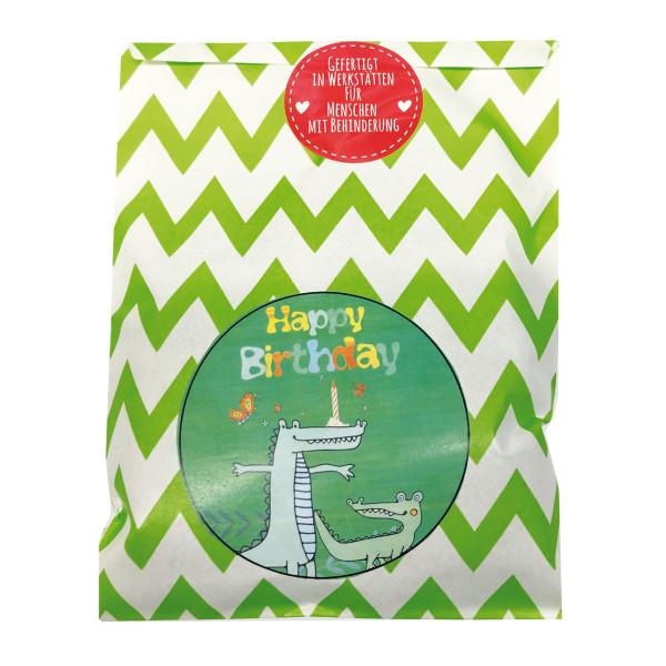 Geschenktüte zum Geburtstag. Wundertüte Krokodil. Kinder Happy Birthday Tüte. Wunderle Überraschungstüte.