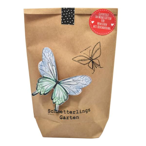 Schmetterlingsgarten Geschenktüte von Wunderle. Wundertüte Schmetterlings-Garten Tüte mit Blumensamen und Deko.