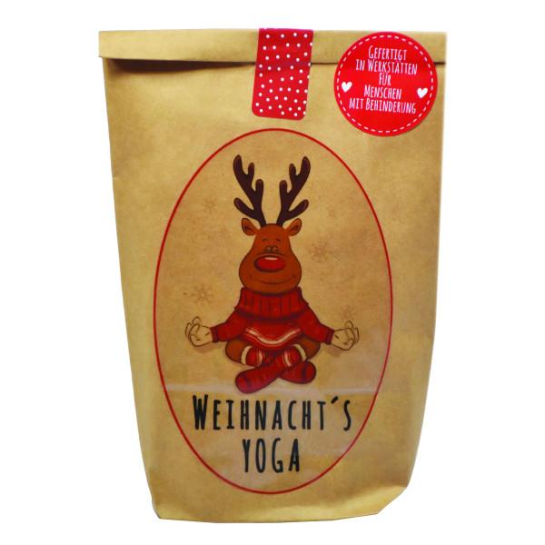 Die Geschenktüte für eine entspannte Weihnachtzeit: braune Wundertüte zum Relaxen - Weihnacht´s Yoga Tüte von Wunderle.
