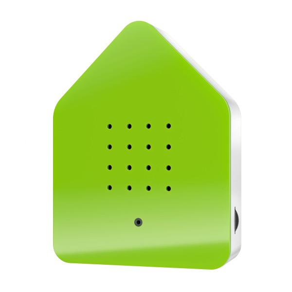 Relax Natursound Zwitscherbox grün. Vogelgezwitscher Soundbox - Vogelhaus mit Bewegungsmelder.