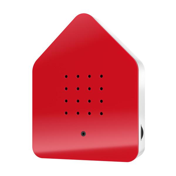 Zwitscherbox Relax Soundbox - Gehäuse rot und weiß. Soundbox mit Relax Vogelgezwitscher + Bewegungsmelder.