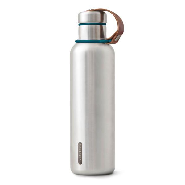 Isolierflasche / Thermosflasche 750 ml Edelstahl ocean blau von black&blum. Auslaufsicher, Schraubdeckel, Halteschlaufe aus Leder ...