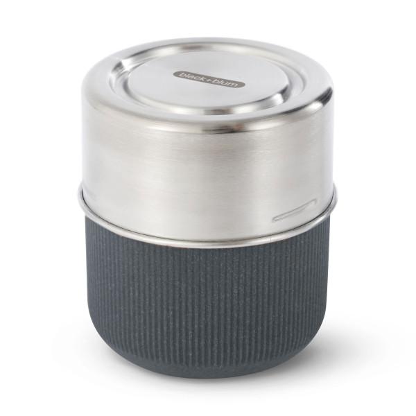 Glas Lunch Pot & Case von black+blum. Auslaufsichere Lunchdose 450 ml Slate (schiefergrau). Nachhaltige, BPA-freie Lunchbox.