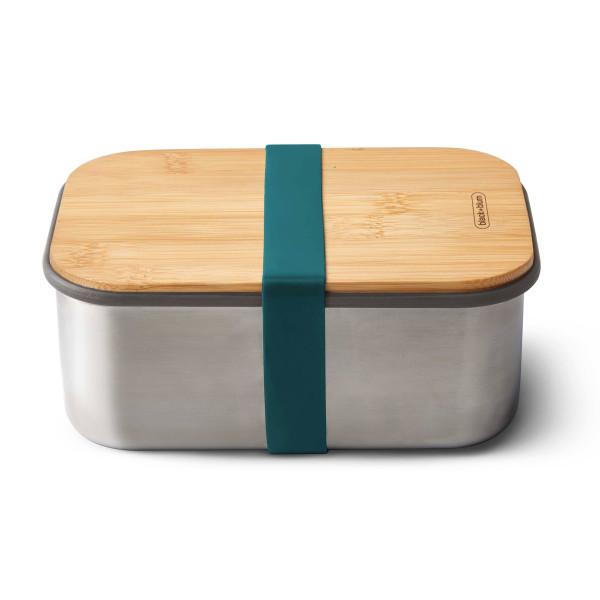 Lunchbox mit großem Volumen 1,25 Liter. Sandwichbox aus Edelstahl mit Holzdeckel aus Bambus. Aus der Serie Box Appetit von black & blum Design. Mit Gummiband in in petrol blau.