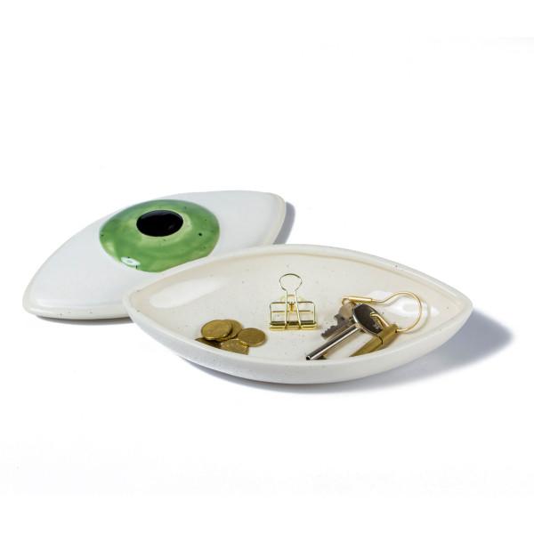 Keramik Aufbewahrungsschale Auge ORGANIC von Doiy Design. Ausgefallene Augen-Schale für Schmuck und Kleinigkeiten.