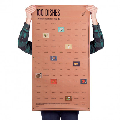 Poster, 100 DISHES - you must eat before you die - doiy design