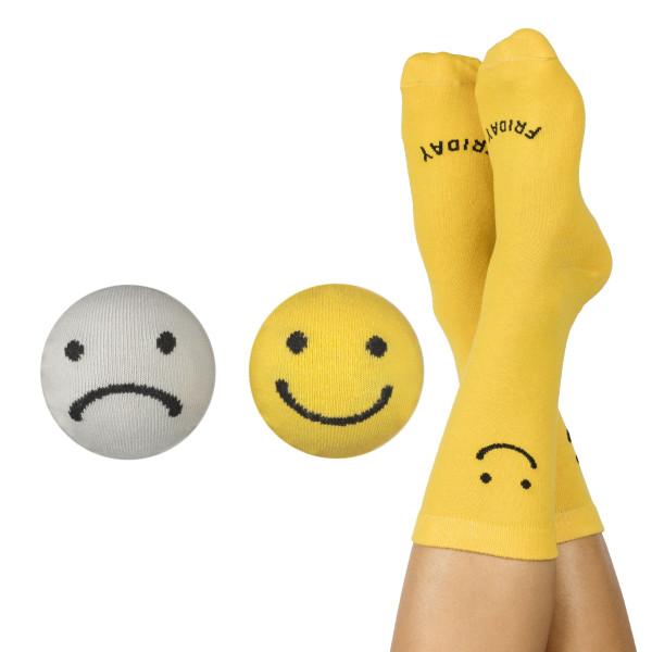 Socken 2er-Set, Monday-Friday Socks - Fashionsocken von doiy design. Sockenpaar in grau und gelb.