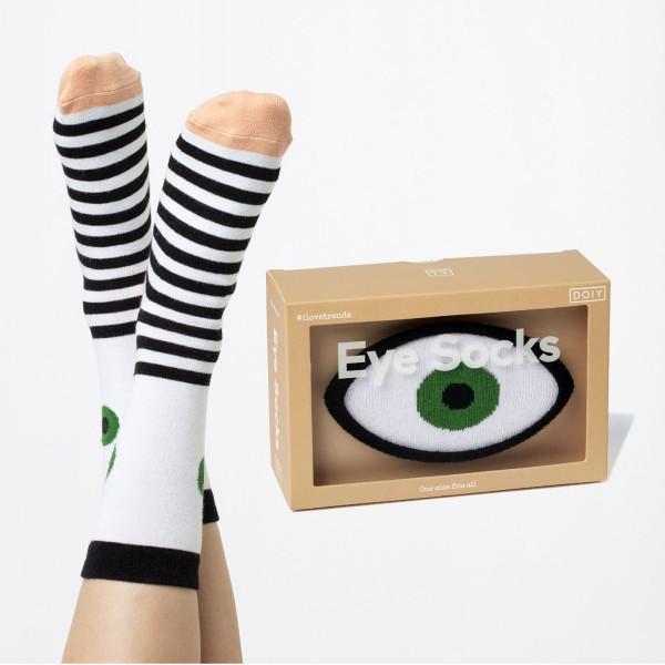 Eye Socks von doiy design - farbenfrohe Augen Fashionsocken - Socken Modell mit grünem Auge