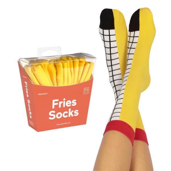 Die originellen Pommes Frittes Socken von doiy design. Fast Food Fries Socks - coole Fashionsocken.