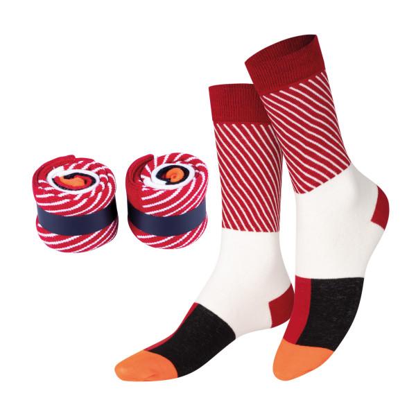 Sushi Socken MAKI SOCKS, Tuna. Die originellen Thunfisch-Sushi Fashionsocken von Doiy Design.