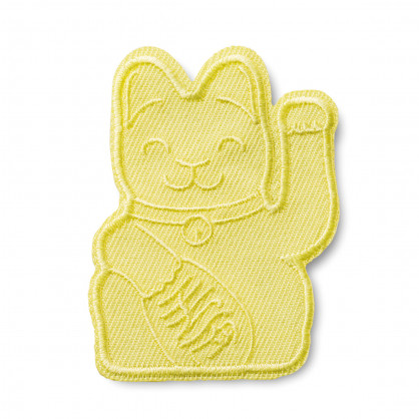 Gelber Lucky Cat Patch von Donkey - Glücksbringer und stylischer Aufnäher - Winkekatze / Glückskatze Patch Aufnäher