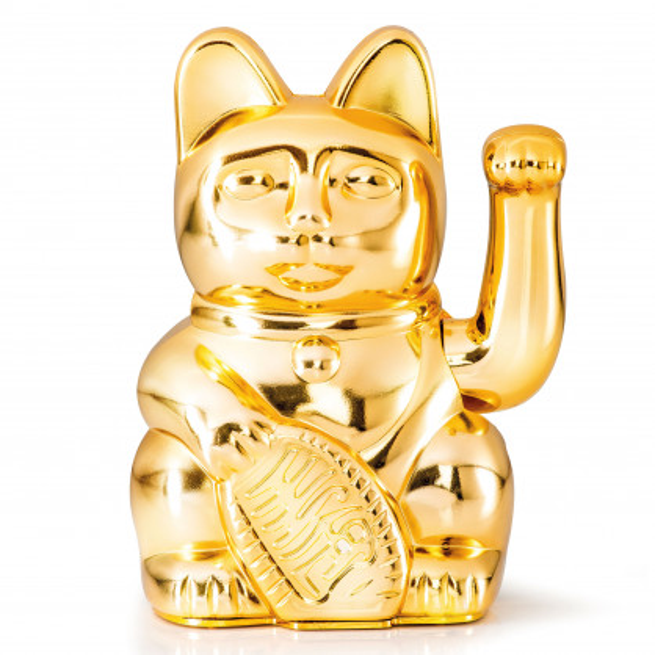 Glücksbringer Winkekatze gold. Maneki Neko Glückskatze von Donkey Products. Dekofigur Sonderedition glossy gold.