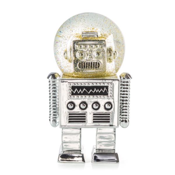 Glitzerkugel Summerglobe THE ROBOT: die aussergewöhnliche Roboter Schneekugel in silber von Donkey Products.