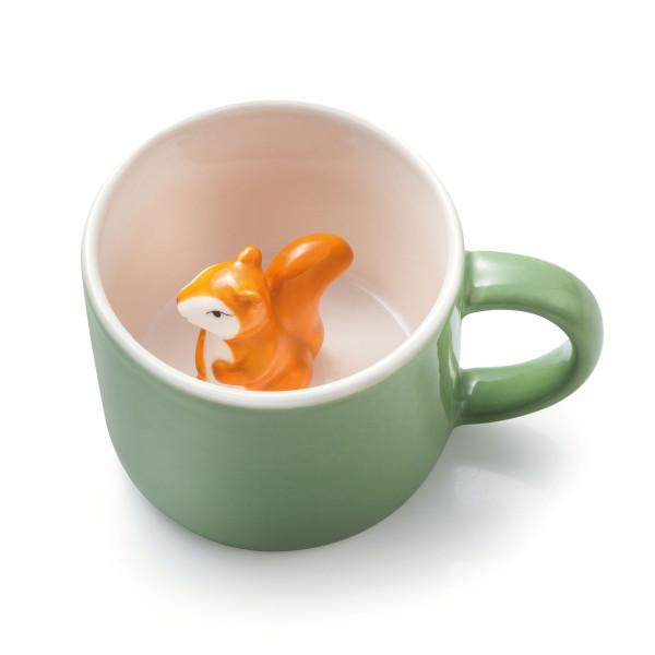 Tiertasse Animal Mug Squirrel - Simon Eichhörnchen. Grüne Henkeltasse mit Eichhörnchen von Donkey Products. Keramiktasse für Kinder.