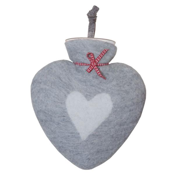 Herz Wärmflasche von dorothee lehnen Textildesign! Hochwertige Wärmflasche mit echtem Wollfilz Bezug - grau mit Herz-Motiv.
