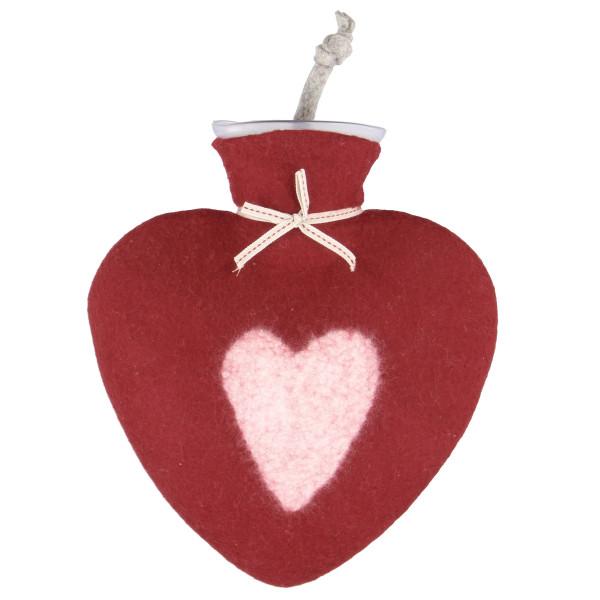 Herz Wärmflasche von dorothee lehnen Textildesign! Hochwertige Wärmflasche mit echtem Wollfilz Bezug - rot mit weißem Herzmotiv.