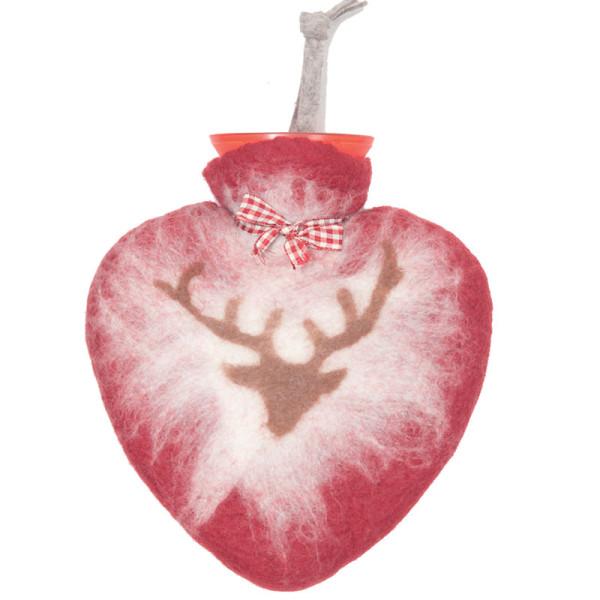 Herz Wärmflasche von dorothee lehnen Textildesign! Hochwertige Wärmflasche mit echtem Wollfilz Bezug - rot mit braunem Hirschmotiv.