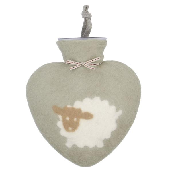 Herz Wärmflasche aus Filz - SCHAF, powdered jade