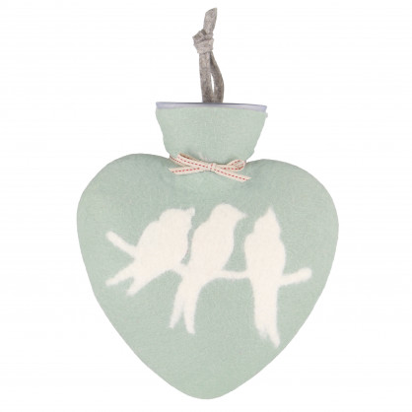 Herz Wärmflasche von dorothee lehnen Textildesign! Hochwertige Wärmflasche mit echtem Wollfilz Bezug - mintgrün mit Vögelmotiv.