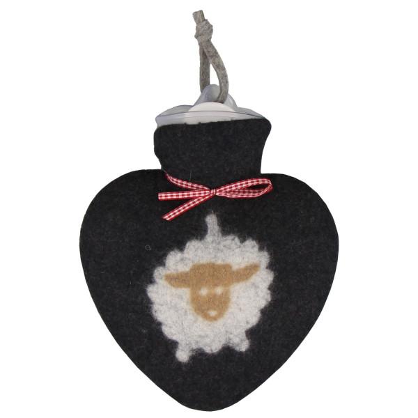 Wärmflasche Herz mit Schaf - schwarz - echter Filz - dorothee lehnen.