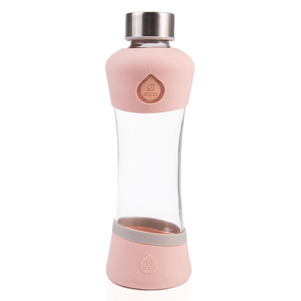 Trinkflasche ACTIVE peach aus Glas von equa. Hochwertige Glasflasche mit Silikonschutz.