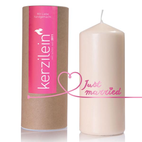Hochzeitskerze - just married, pink