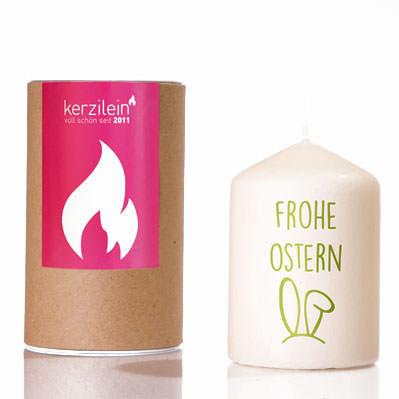 Osterkerze - Stumpenkerze mit Hasenohren und Spruchbotschaft - FROHE OSTERN. Ostergeschenk und Mitbringsel zu Ostern von kerzilein.