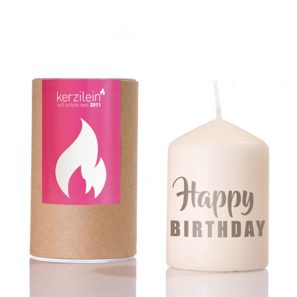 Kerze Flämmchen - Stumpenkerze mit grauem Schriftzug - HAPPY BIRTHDAY - von Kerzilein