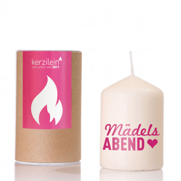 Kerzilein Kerze flämmchen - Stumpenkerze mit rosa Schrifzug Mädelsabend