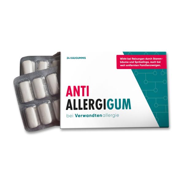 Lustiges Spaßmedikament - 24 Kaugummis im Blister mit lustigem Aufdruck Anti AllergiGUM - bei Verwandtenallergie von liebeskummerpillen.