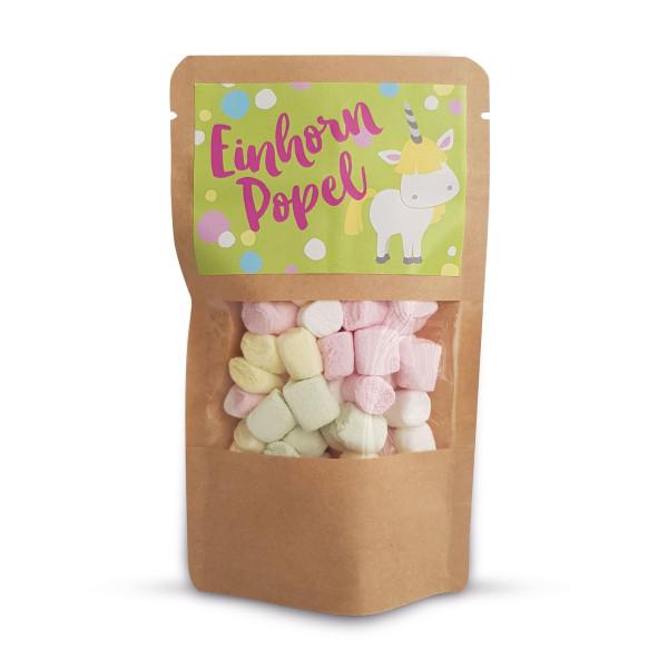 liebeskummerpillen Einhorn Popel: leckere kleine bunte Marshmallows in kleinem Gläschen mit Bügelverschluss.