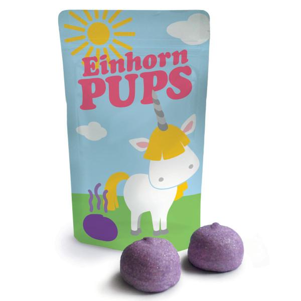 Einhorn Pups von liebeskummerpillen: kleine Tüte mit Einhornmotiv, gefüllt mit lila Marshmallows.