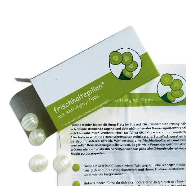 liebeskummerpillen Frischhaltepillen: Eisbonbons mit Anti Aging Tips in einer netten Geschenkschachtel.