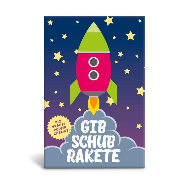 Kleines Geschenk und Mitbringsel für Groß und Klein - Bio-Brause von liebeskummerpillen - Gib Schub Rakete