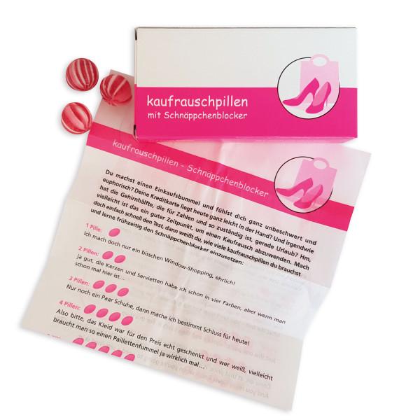 liebeskummerpillen Kaufrauschpillen: Kirschbonbons mit witzigem Beipackzettel gegen Amokshoppen. Das Spaßmedikament, geliefert in einer netten Geschenkschachtel.