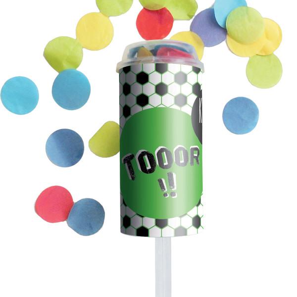 Konfetti Popper Tooor! von liebeskummerpillen verschießt buntes Konfetti auf der nächsten Fußballfeier.